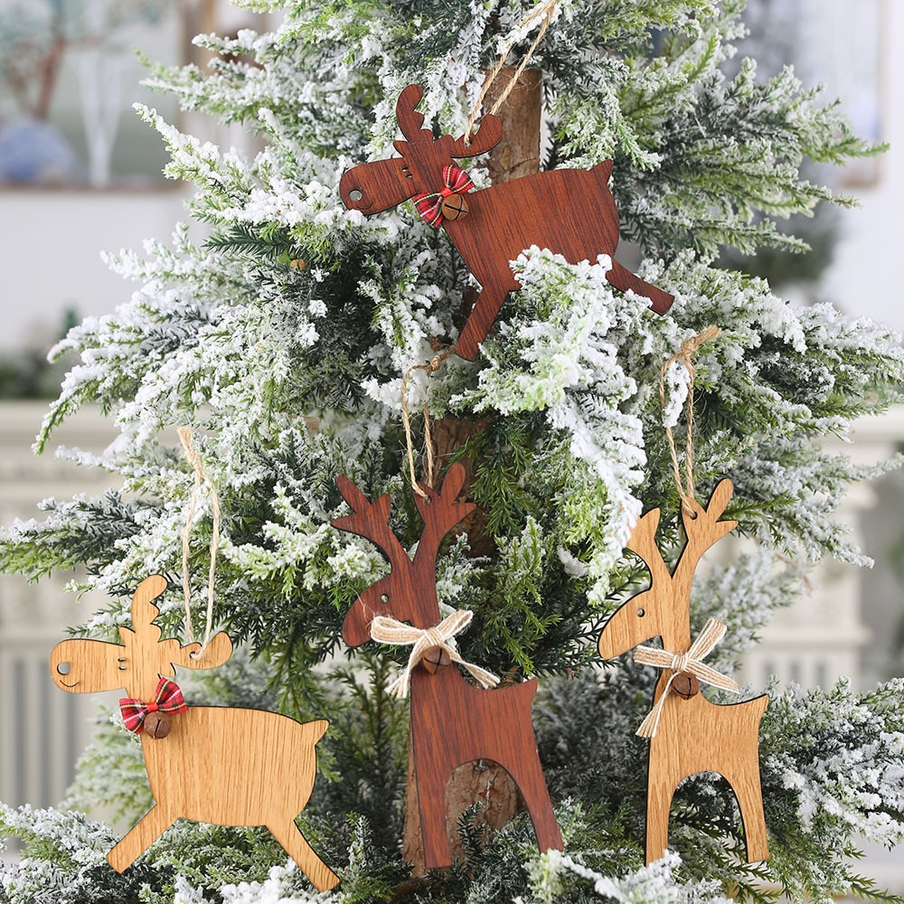 Christmas Deer Wooden With Bell Decor Xmas Tree Ornaments Kid Gift Pendants DIY Party Decoration