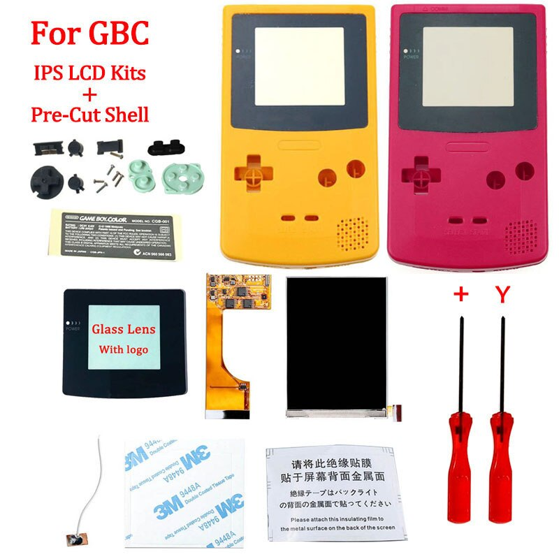 Full Screen GBC IPS LCD With Pre cut Shell for Gameboy Color ips backlight screen with precut housing shell