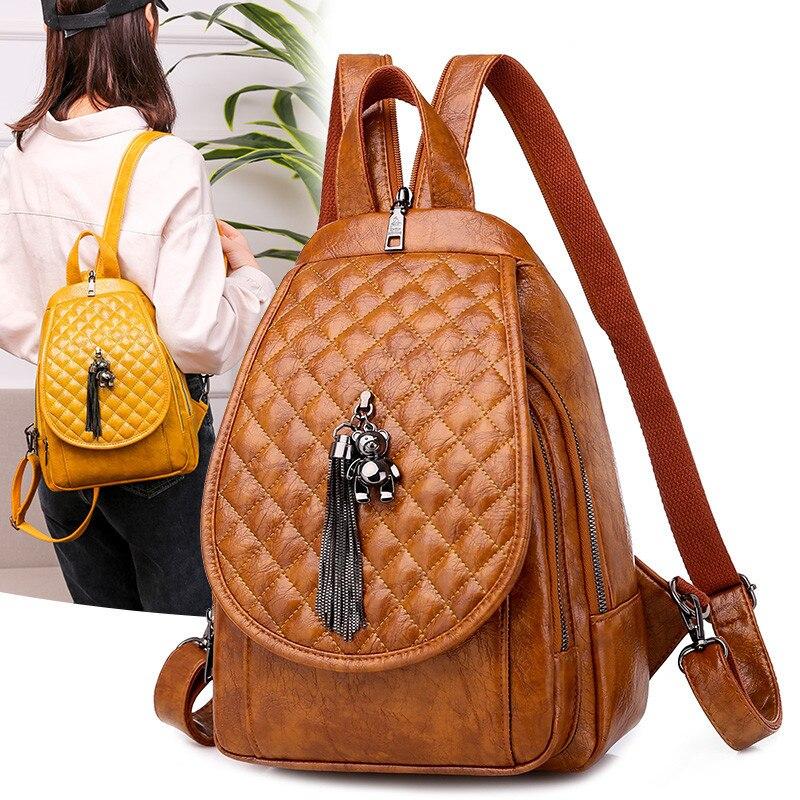 حقائب ظهر نسائية غير رسمية بنمط ماسي ، حقيبة حمل مع قلادة بيرة لطيفة ، حقيبة كتف على الصدر ، شبكية ، حقيبة سفر ، Mochila