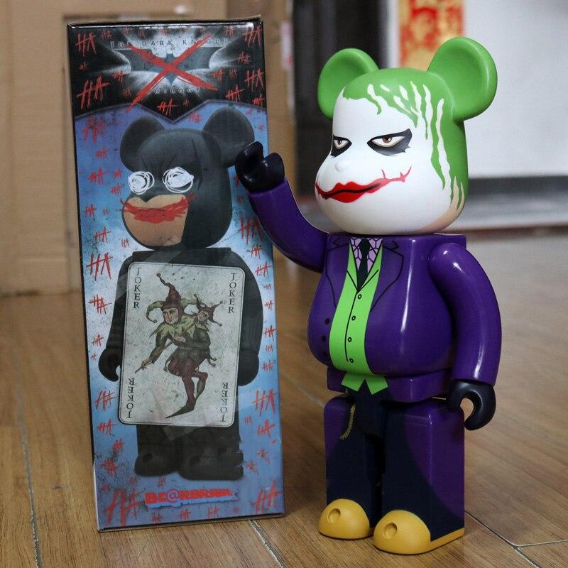 11 pulgadas 28cm 400% Be @ rbrick DIY juguete de moda PVC caballero oscuro Joker HeathLedger oso de peluche acción figura juguete de modelos coleccionables