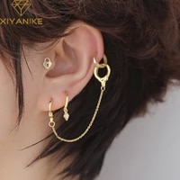 xiyanike 925 sterling silver double lock chain hoop earrings female fashion simple temperament personality exquisite decoration