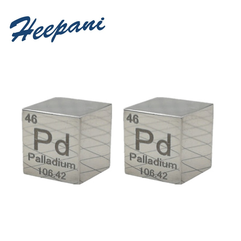 Free shipping mirror polished palladium metal 9995 pure 10mm Pd 11.6g carved density cube / ingot element periodic table