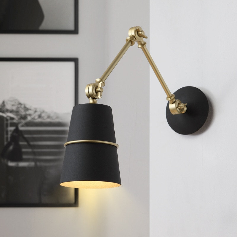 Nordic Wall Lamp Adjustable Retractable Study Bedroom Bedside Cafe Restaurant Wall Lights Designer Reading Lamp E27