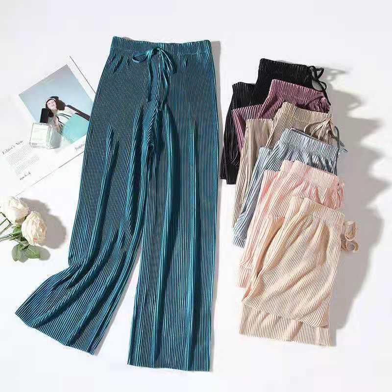 Summer Wide Leg Pants For Women Casual Elastic High Waist New Fashion Loose Long Pants Pleated Pant