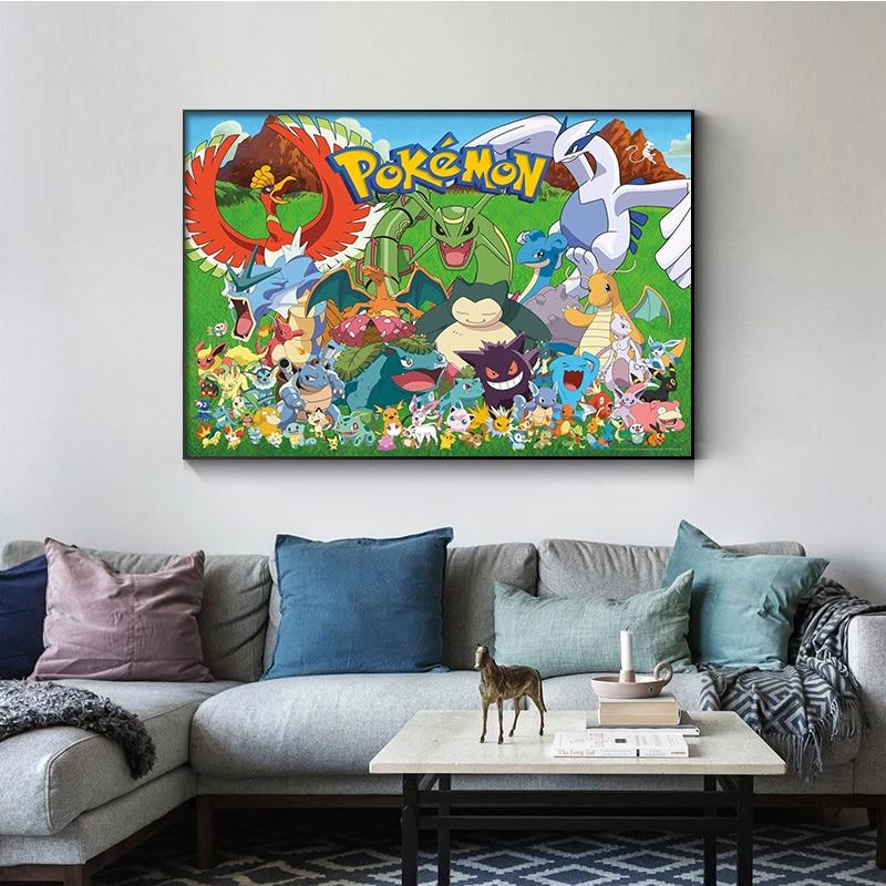 Постер высокого качества с покемоном, Картина на холсте, настенная роспись, детская спальня, детская комната, украшение для дома