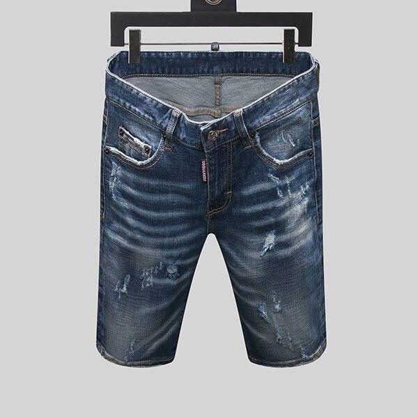 Lato w stylu dsq marka włoska dżinsy męskie wąska krótka dżinsy męskie spodnie jeansowe zipper stripe hole niebieskie szorty dziura dżinsy dla mężczyzn