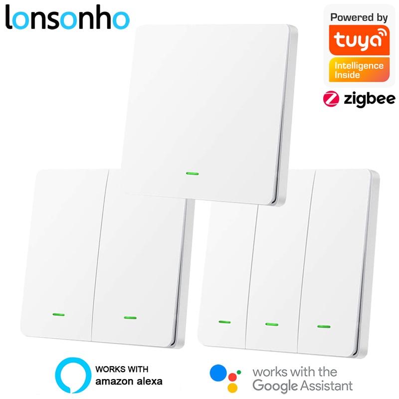 AliExpress - Lonsonho Tuya Zigbee Smart Switch With / No Neutral EU UK 220V Wireless Button Light Switches Support Zigbee2mqtt Home Assistant