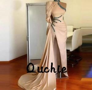Satin High Split Evening Dresses Mermaid One Sleeve robe soiree Islamic Dubai Kaftan Saudi Arabic Prom Gown