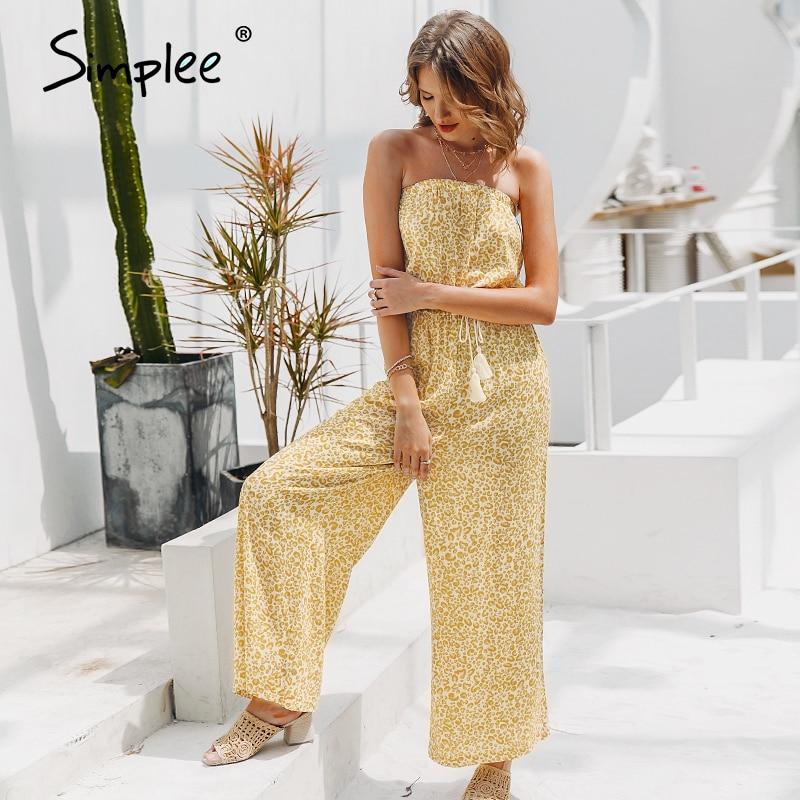 Simplee macacão sexy sem ombro, para mulheres, elegante, com faixas, macacão longo, de cor sólida, estampa de oncinha, playsuit 2019