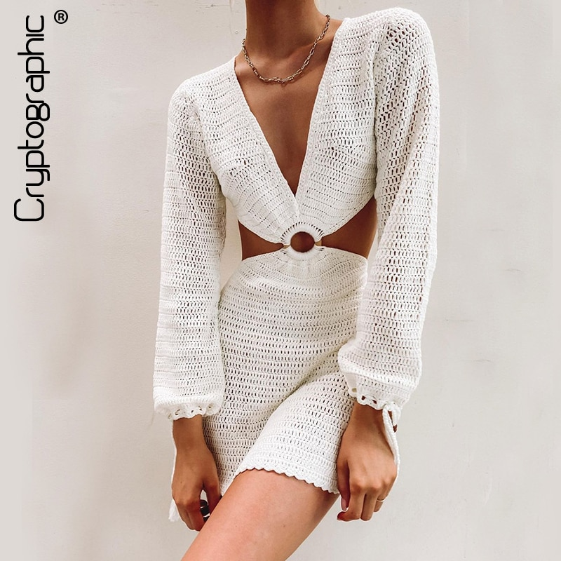 Cryptographic 2021 Summer Beach Knitted Croset See Through Beach Dress Cut-Out Sexy Backless Long Sleeve Dresses Fashion Knit burgundy see through lace insert cut out halter mini dress