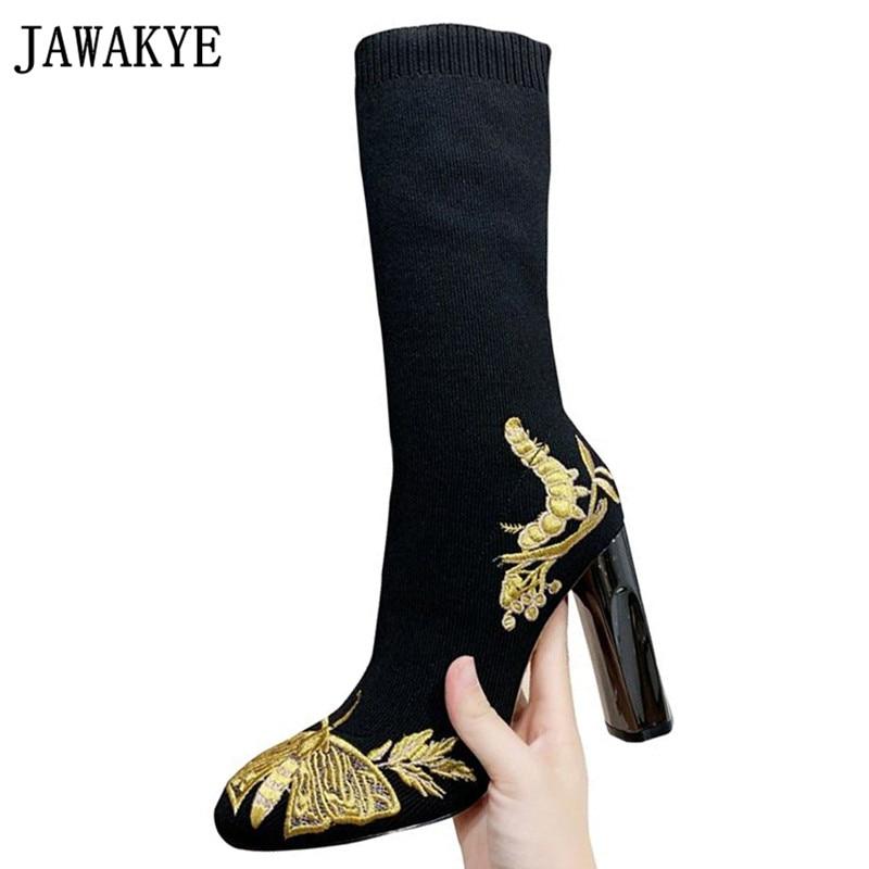 2020 botas de meia de inverno ouro bordado preto malha ankle boots celebridade sapatos femininos inverno salto alto sapatos de festa