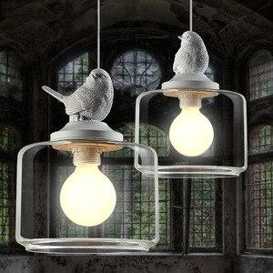 Modern Led Glass Pendant Light Bird Hanging Lighting Fixture Nordic Kitchen Living Bedroom Indoor Decor Resin Suspension Lamp