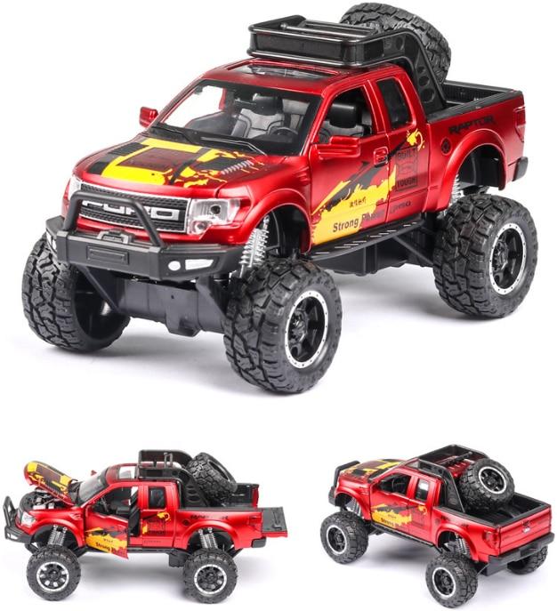 New 132 Ford Raptor F150 Pickup Truck Alloy Car Model Pull Back Diecast Car Toy Car Model Gift Toys For Kids Birthday