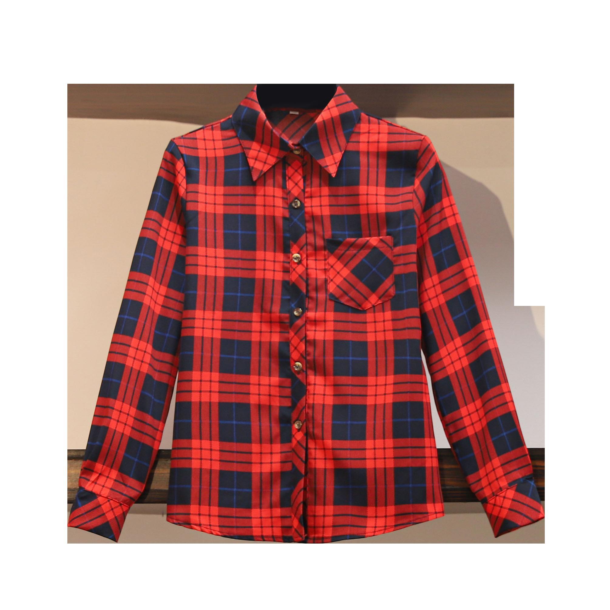 2020 new womens clothing spring summer fashion plaid print long sleeves shirt turn-down collar blouses female
