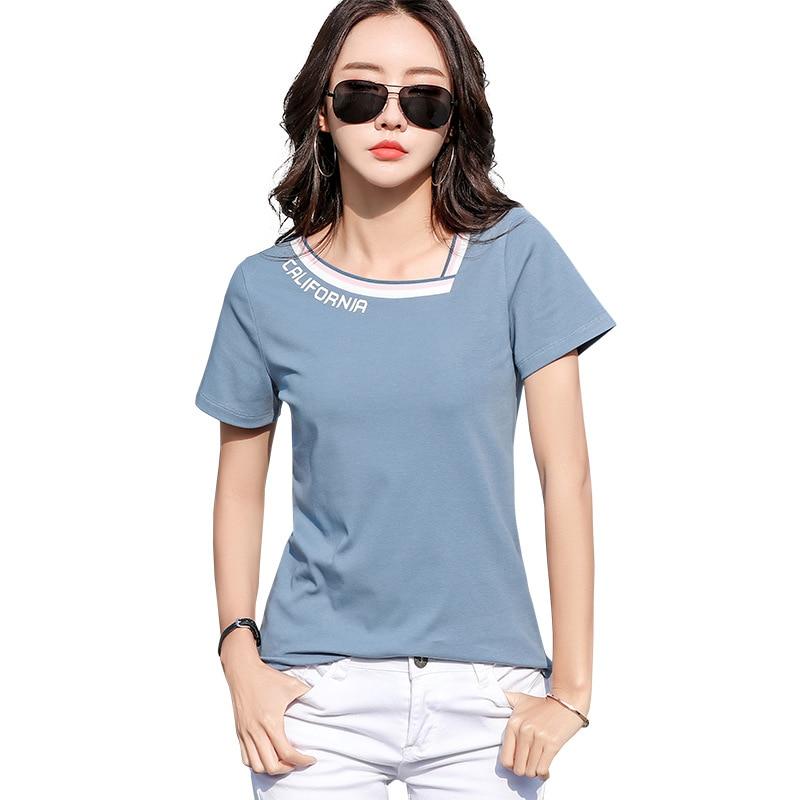 New Skew V-Neck Letter Print T Shirt Women Cotton 2020 Woman Clothes T-Shirt Female Tops Ladies Summer T Shirts Tee Shirt Femme