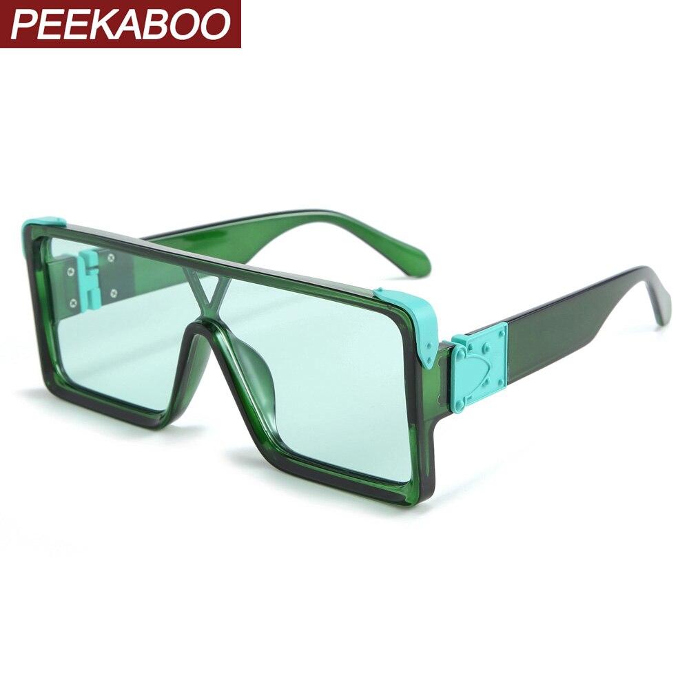 Peekaboo, цельные Квадратные Солнцезащитные очки для мужчин, большие размеры, 2020, белые, женские солнцезащитные очки, Ретро стиль, мужские, зеленые, синие, uv400, хит продаж