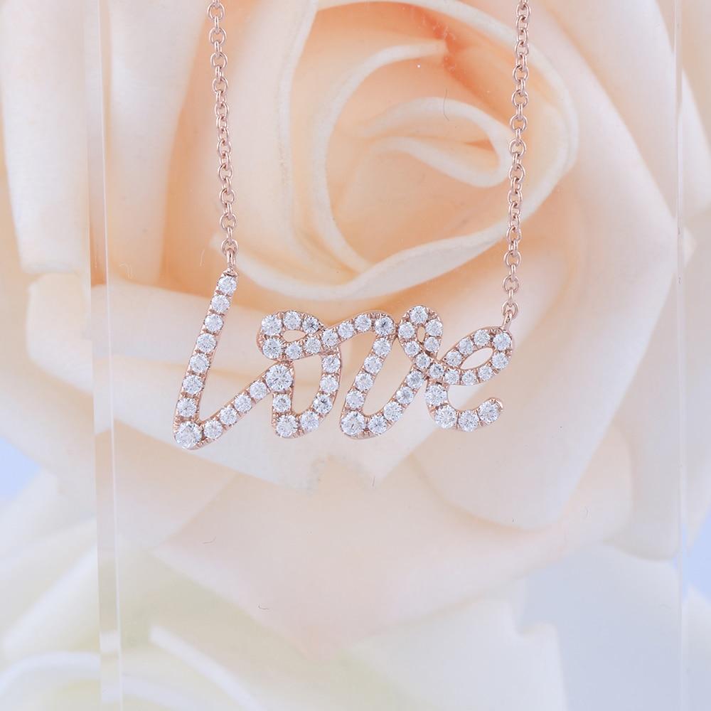 Veryins 18K 750 oro rosa forma de amor moissanita colgante collar para mujeres