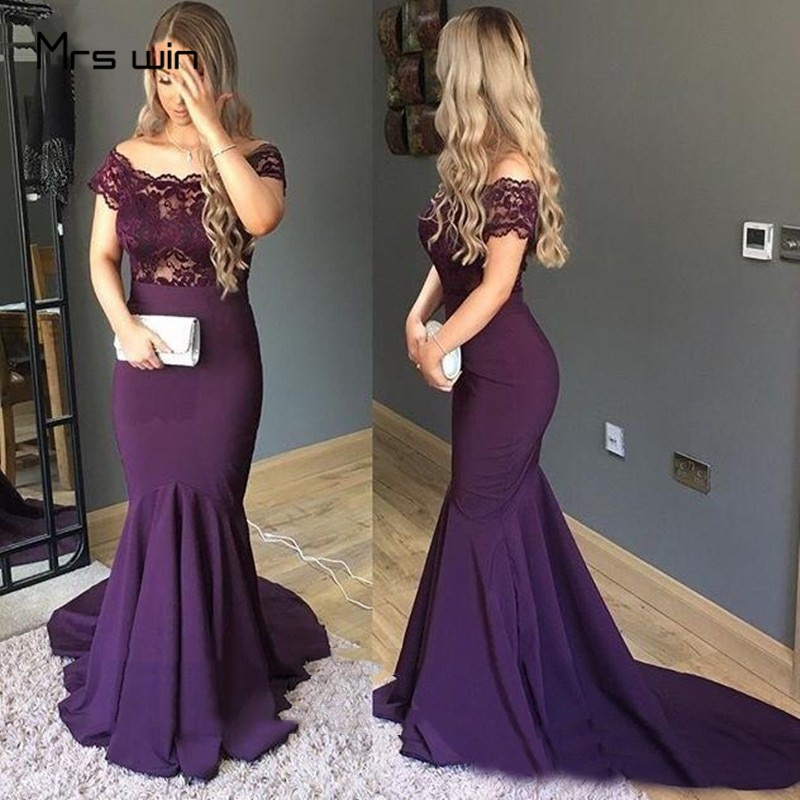 Vestidos para la madre de la novia de la señora Win vestidos de encaje púrpura de hombro de Prom vestidos de sirena largos para la madre para la fiesta de boda