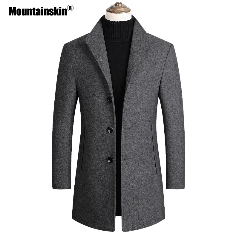 Mountainskin Men Wool Blends Coats Autumn Winter New Solid Color High Quality Men's Wool Jacket Luxurious Brand Clothing SA837