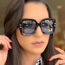 2021 Oversized Sunglasses for Women Brand Designer Retro Sun glasses Red Green Shades Eyewear sungla