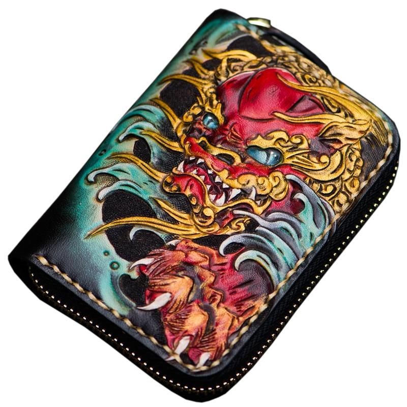 Mini purse men's short zipper Lion wallet ladies genuine leather card holder bag coin purses female leather wallets