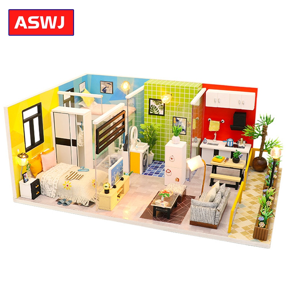 CASA MODELO DE MONTAJE de madera, casas de muñecas de manualidades, juguete de vida Simple, mesa de arena, Loft, Miniatura, muñeca, casa, muebles, Kit Roombox