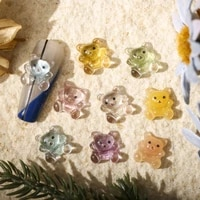 20pcs 9x10mm jelly bear nail charms resin bear pendants designer charms cute cartoon gummy nail ornaments for nail supplies