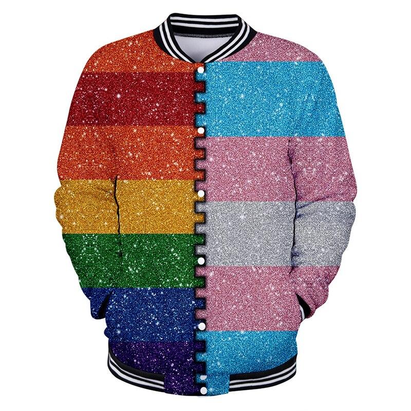 Cute Hot LGBT Rainbow Hoge Kwaliteit Baseball Jacket Jassen LGBT Rainbow Vlag Lesbiennes Homo 'S Populaire Unisex H Personality