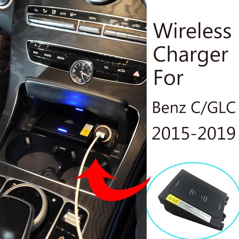 Cargador inalámbrico de 15W para BENZ W205, C180, AMG, C43, C63, AMG, GLC, teléfono de carga rápida adaptor2015-2019 Clase C