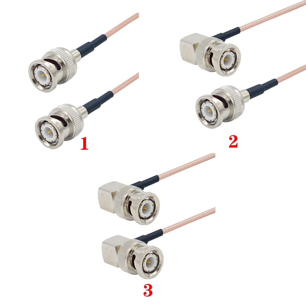BNC Male Plug Right Angle to Straight BNC for SDI video signal transmission Camera RF Pigtail Soft 50 ohm RG316 Coaxial cable