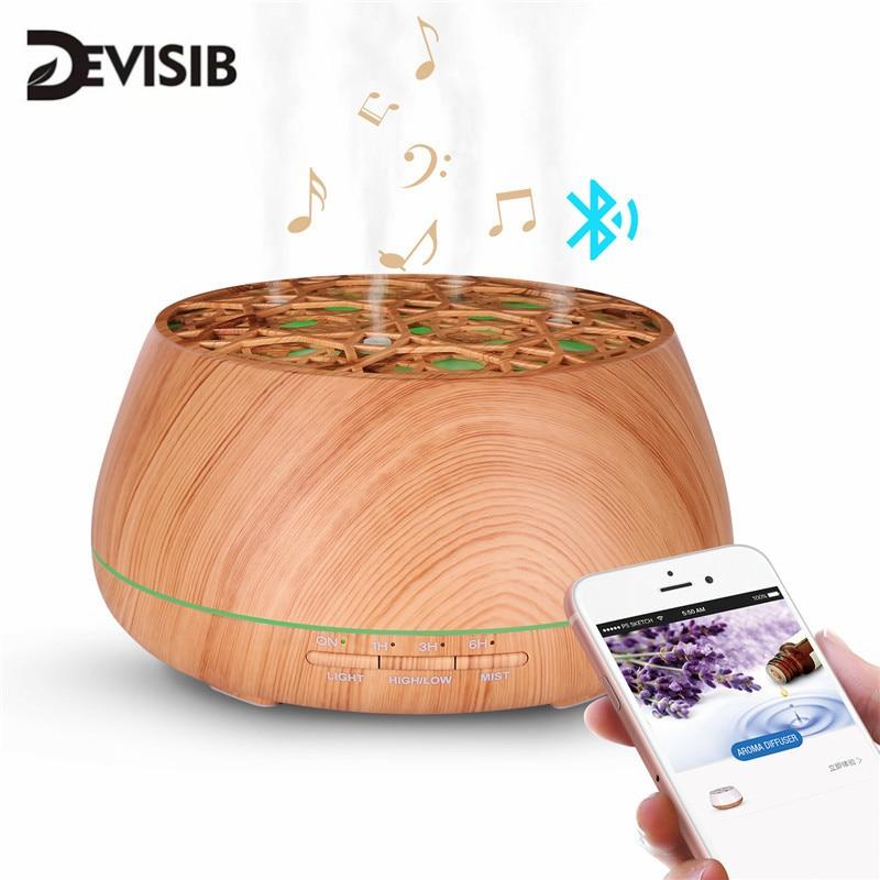 DEVISIB Bluetooth רמקול ארומה חיוני שמן מפזר ללא מים אוטומטי כיבוי 7 צבע שינוי LED אורות קולי אדים