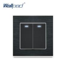Nova chegada 2 gang 1 way 2 way com led indicador wallpad luxo interruptor de luz parede painel metal cetim botão interruptores