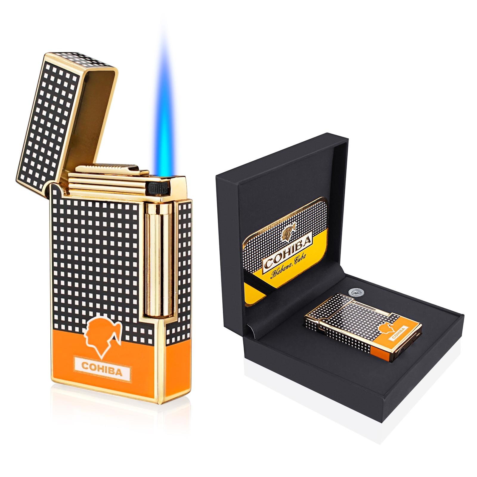 Cigar Lighter Cohiba Torch Jet Flame Refillable Butane Gas Flintstones Lighter with Cigar Punch Ciga