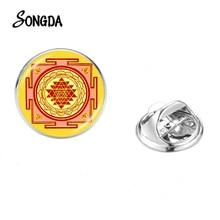 Chakra spirituel Sri Yantra broches collier broche papillon acier inoxydable Mandala Art Photo géométrie sacrée unisexe broche