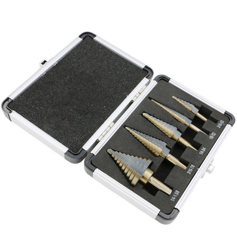 Набор конусных Сверл с несколькими отверстиями, 5 шт., 50 размеров, HSS, кобальт, набор инструментов с алюминиевым чехлом
