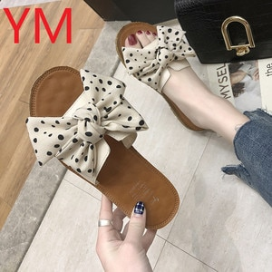 2020 Women Bowknot Slippers Summer Casual Beach Sandals Wave point Slip on Platform Ladies Dress Party Peep Toe Female Sandals