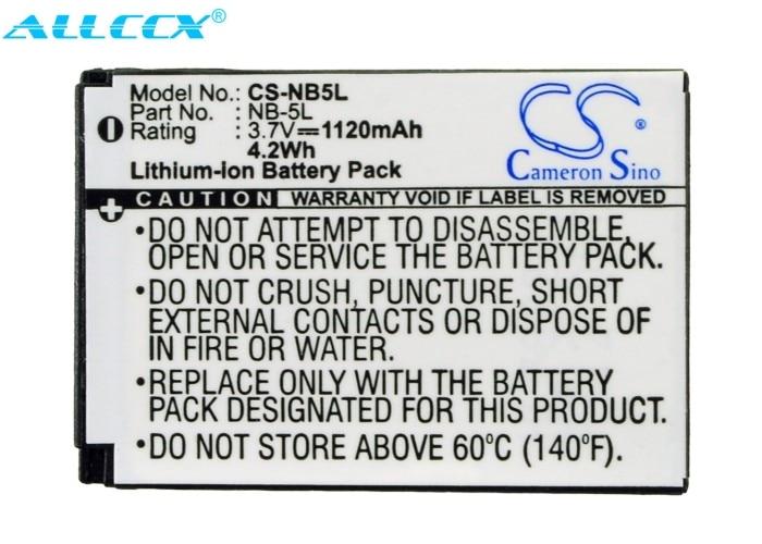 Cameron Sino 1120mAh batterie NB-5L pour Canon numérique IXUS 800 IS,850 IS,IXUS 860,860 IS,870 IS,900 IS,950 IS,960 IS,970 IS, IS