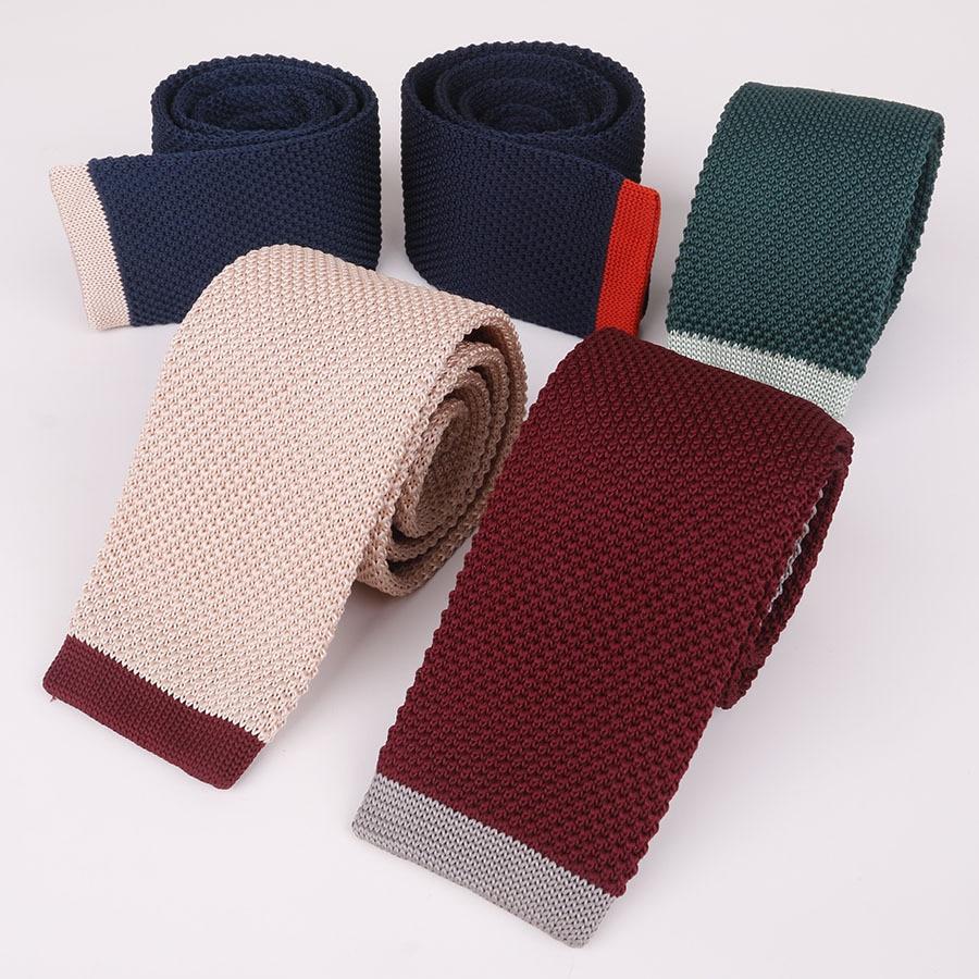 Linbaiway 5cm Flat Head Knitted Ties for Mens Knitting Ties Narrow Skinny Wedding Red Neckties Woven Designer Cravat Custom Logo недорого