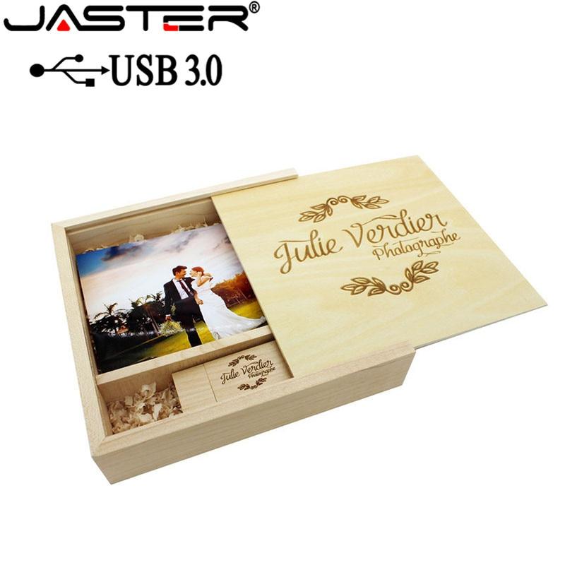 JASTER USB 3.0 Fotoalbum Hout usb + Doos usb flash drive Memory stick Pendrive 8 gb 16 gb LOGO custom voor Fotografie huwelijkscadeau