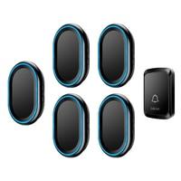 CACAZI Home Wireless Intelligent Doorbell LED night light 1 Waterproof Button 5 US EU UK Plug Receiver 300M Remote cordless bell