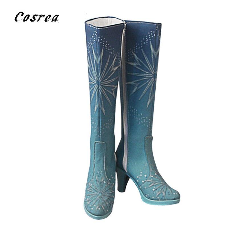 Reina Anna Elsa traje de zapatos de princesa elsa zapatos de hielo invierno niñas Navidad Anna Elsa nieve Cosplay rodilla-Botas de tacón alto