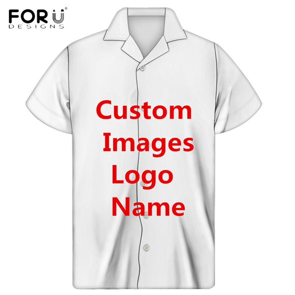 FORUDESIGNS تخصيص صور/شعار/اسم الرجال عادية قصيرة الأكمام قمصان الكوبية Guayabera ملابس الشاطئ الذكور قميص حريمي دروبشيب