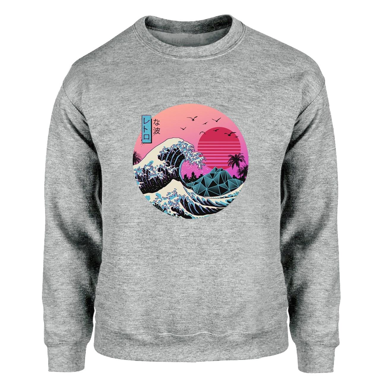 A grande onda retro japão anime vaporwave kanagawa sweatshirts moletom masculino crewneck moletons pintura raglan harajuku fleece streetwear