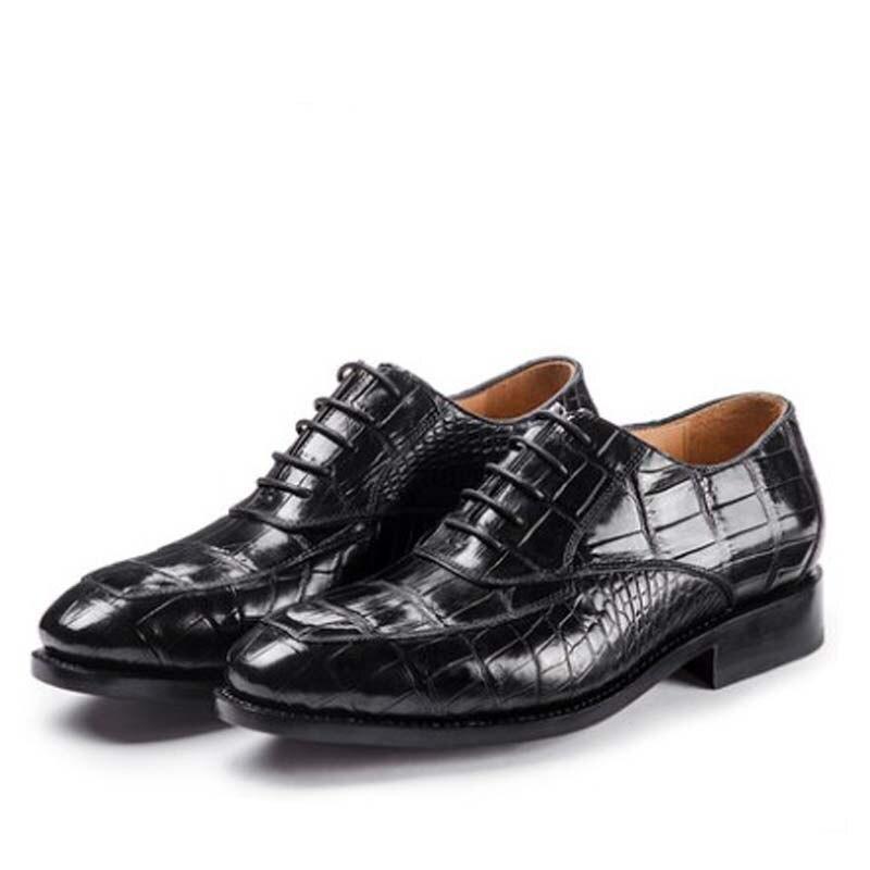 Ouluoer-أحذية رجالية من جلد التمساح التايلاندي ، أحذية رجالية ، أحذية عمل ، مساعدة منخفضة ، أحذية رسمية برباط