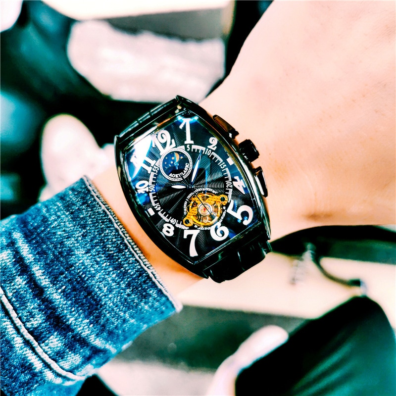 Luminous Moon and Stars Mens Watches Barrel-shaped Watches Men's Waterproof Leather Automatic Mechanical Watch Men's Watches enlarge