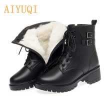 AIYUQI Women Winter Boots Large Size New Natural Wool Warm Women Snow Boots Mid-heel Martin Genuine