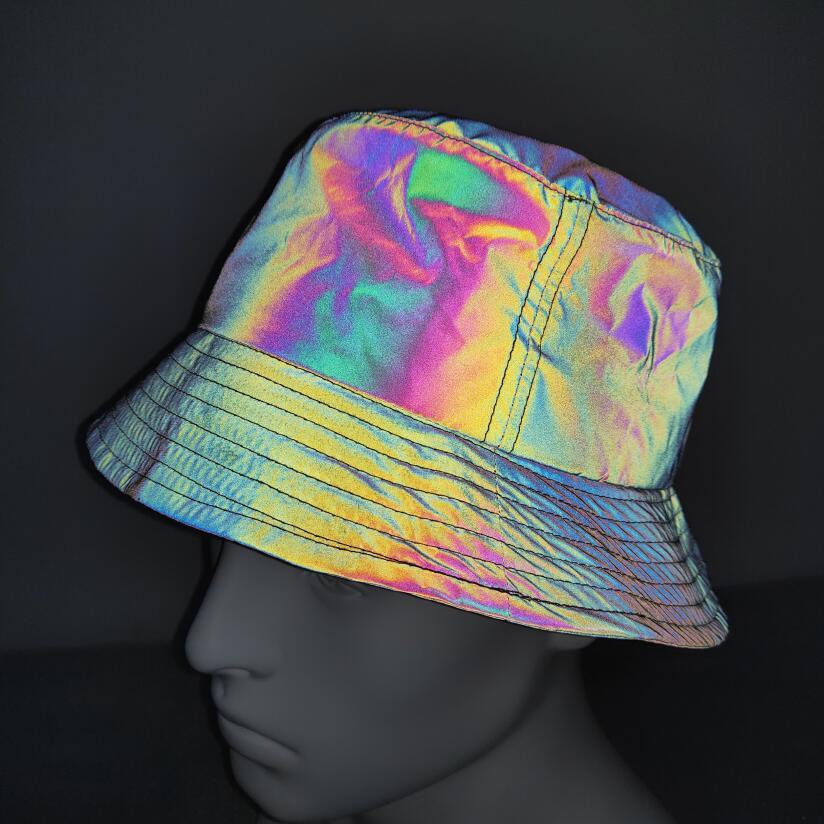 Hip pop Emmer hoed streetwear reflecterende cap mannen vrouwen glossy outdoor strand zonnehoed zwarte mode panama hoed visser