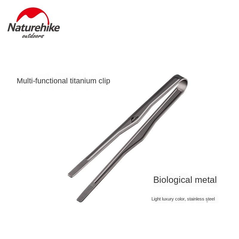 Naturehike multi-função titanium clip ao ar livre piquenique bbq braçadeira de alta temperatura resistente puro titanium clipe de comida