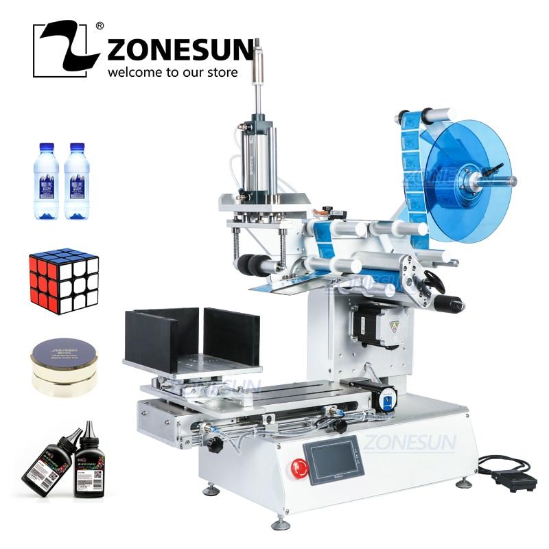 ZONESUN XL-T803 Semi-automatic Flat Plastic Cans Rubik's cube Shampoo Water Milk Juicer Bottle Labeling Machine Labeller