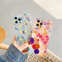 colorful wave point shockproof phone case for iphone 11 12 pro max 7 8 plus xs max x xr se 2020 cute flowers clear soft cover